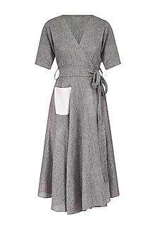 Grey Gathered Skirt And Wrap Waist Midi Dress
