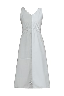 Grey Half and Half Sleeveless Maxi Dress by Olio