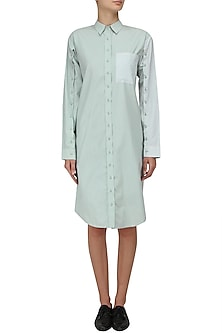 Mint Button Down Shirt Dress by Olio