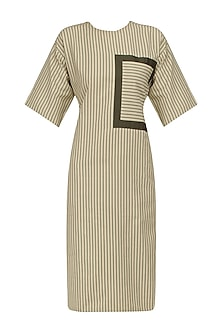 Khaki Green Knotted Tie Up Shift Dress