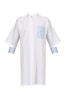 White Cactus Print Shirt Dress