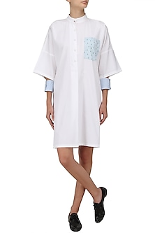 White Cactus Print Shirt Dress by Olio