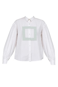 White Ruffle Detail Boxy Shirt