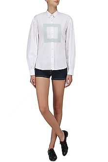 White Ruffle Detail Boxy Shirt by Olio