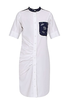 White and Black Button Down Shirt Dress