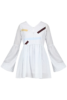 Off White Patchwork Smock Dress
