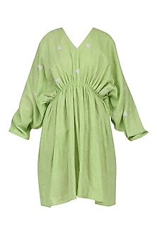 Green Pleated Kaftan Dress