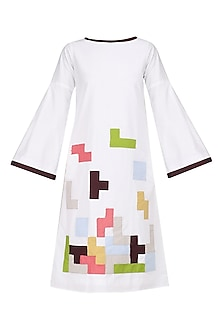 Whire Tetris Patchwork Midi Dress