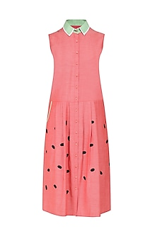 Coral Button Down Drop Waist Dress