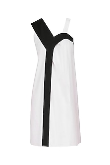 White and Black Color Block Shift Dress