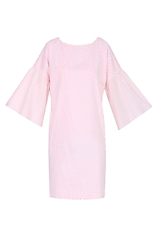 Pink Bell Sleeves Shift Dress