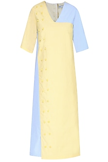 Yellow and Blue Straight Fit Park Dress