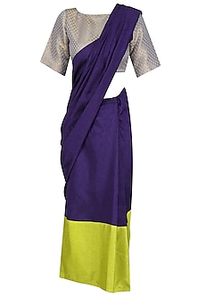 Blue and Green Pre Draped Saree by Olio