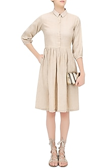 Mocha Color Knee Length Khadi Dress by Olio
