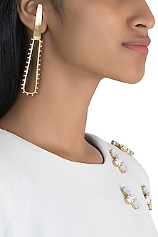 Gold Polish Handcrafted Geometric Earrings by One Nought One One