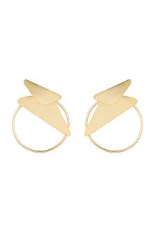 Gold Polish Geometric Hoop Earrings by One Nought One One