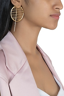 Gold Polish Oval Wire Earrings by One Nought One One