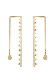 Gold Polish Petal Wired Drop Earrings by One Nought One One