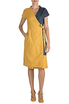 Yellow Tie-Up Wrap Dress by Ori