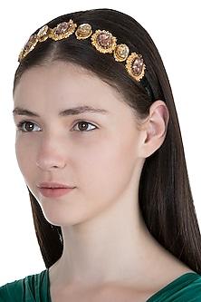 Gold Plated Smoke Black Victorian Headband by Ornamas By Ojasvita Mahendru