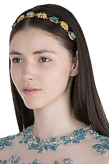 Gold Plated Sea Green & Jade Star Anise Headband by Ornamas By Ojasvita Mahendru