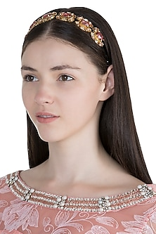 Gold Plated Princes Pink & Peach Marquise Headband by Ornamas By Ojasvita Mahendru