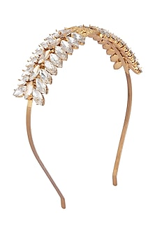 Gold Plated White Crystal Marquise Tiara Headband by Ornamas By Ojasvita Mahendru
