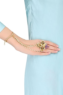 Gold Plated Oval And Topaz Stone Hand Harness