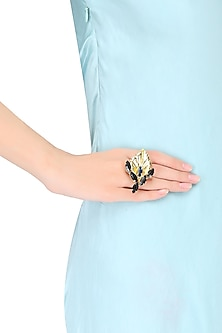 Gold Plated Montane Stone Autumn Leaf Ring