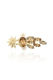 Gold Plated Star Anise Motif Beehive Ring by Ornamas By Ojasvita Mahendru