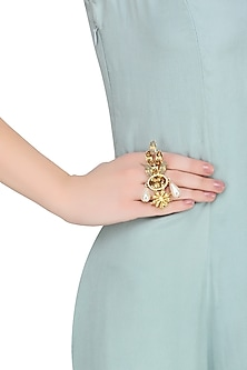 Gold Plated Star Anise Motif Beehive Ring