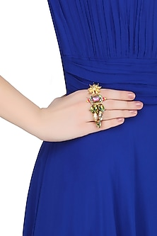 Gold Plated Star Anise Motif Neon Pop Ring by Ornamas By Ojasvita Mahendru