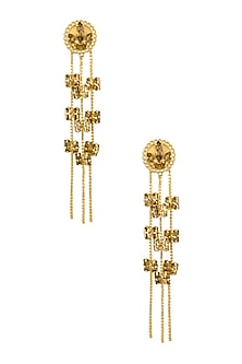 Gold plated Topaz Fleur Swinging Block Earrings by Ornamas By Ojasvita Mahendru