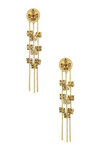 Gold plated Topaz Fleur Swinging Block Earrings by Ornamas By Ojasvita Mahendru