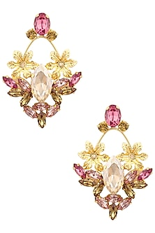 Gold plated Pink Topaz Cresenze Earrings by Ornamas By Ojasvita Mahendru