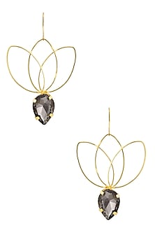 Gold plated Smoke Bella Lotus Earrings by Ornamas By Ojasvita Mahendru