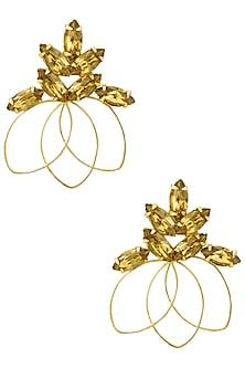 Gold plated Redolance Topaz Bouquet Earrings by Ornamas By Ojasvita Mahendru