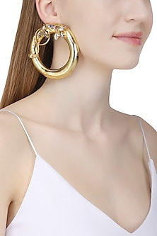 Gold Plated Drumroll Viti Stem Earrings by Ornamas By Ojasvita Mahendru