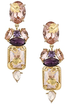 Gold Plated Bud Stem Earrings by Ornamas By Ojasvita Mahendru