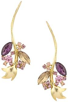Gold Plated Inflorescence Flower Vine Earrings by Ornamas By Ojasvita Mahendru