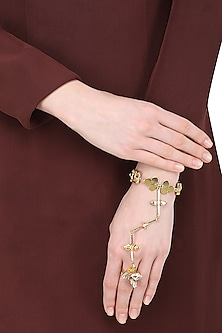 Gold Plated Trellis Semi Precious Stone Hand Harness by Ornamas By Ojasvita Mahendru