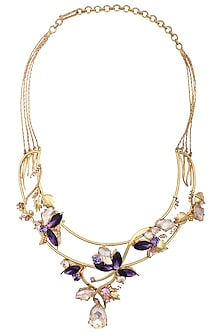 Gold Plated Floral Vine Neckpiece by Ornamas By Ojasvita Mahendru