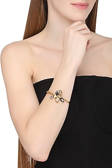 Gold Plated Floral Vinifera Bracelet by Ornamas By Ojasvita Mahendru