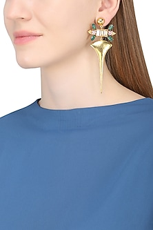 Gold Plated Floral Vinifera Earrings