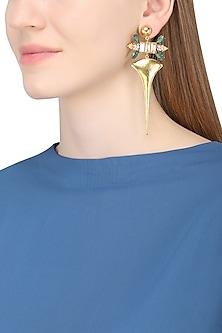 Gold Plated Floral Vinifera Earrings by Ornamas By Ojasvita Mahendru