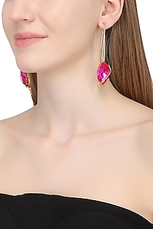 Gold Plated Floral Vinifera Magenta Marquis Earrings