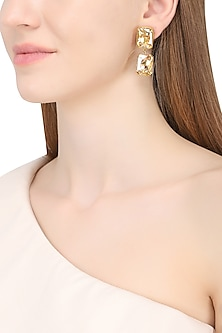 Gold Plated Vini Block Earrings