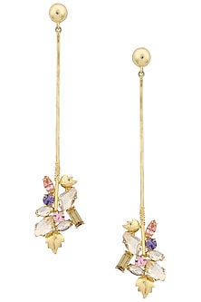 Gold Plated Floral Vinifera Trellis Stick Earrings by Ornamas By Ojasvita Mahendru
