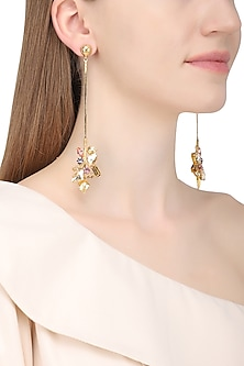 Gold Plated Floral Vinifera Trellis Stick Earrings