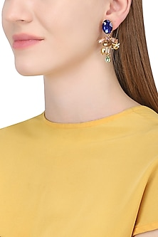 Gold Plated Floral Vinifera Earrings With Blue Tops
